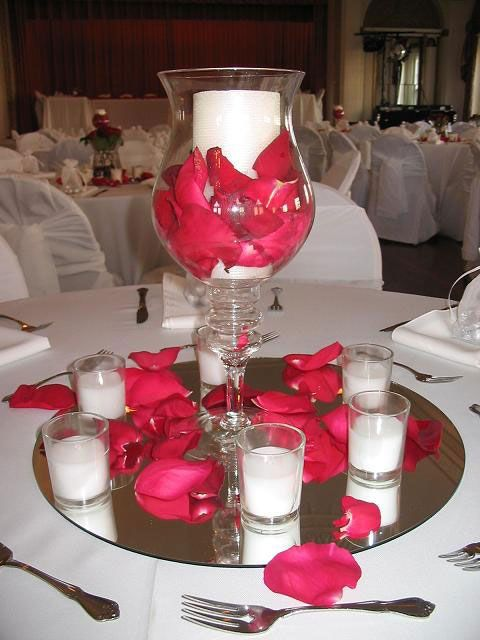 Red roses never fails for table decor My wedding ideas