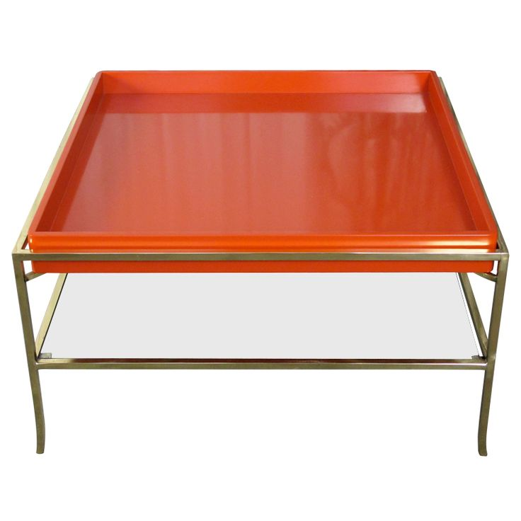 Tommi Parzinger Lacquer and Brass Cocktail Table
