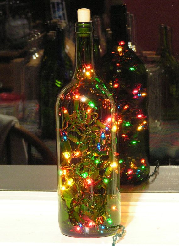 Large green wine bottle light with multi colored christmas for Light up wine bottles
