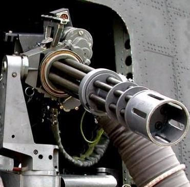 Dillon Aero M134 Gatling gun.  Also known as a minigun it has a rate of fire of 2,000-6,000 rounds per minute.    7.62 x 51mm
