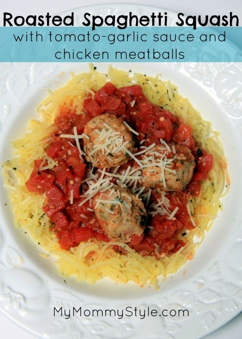 Roasted Spaghetti Squash with tomato-garlic sauce and chicken ...
