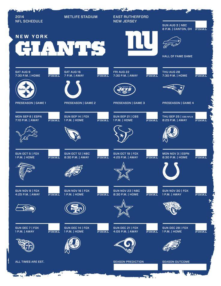 New York Giants 2014 NFL Schedule | 2014 NFL Schedules | Pinterest