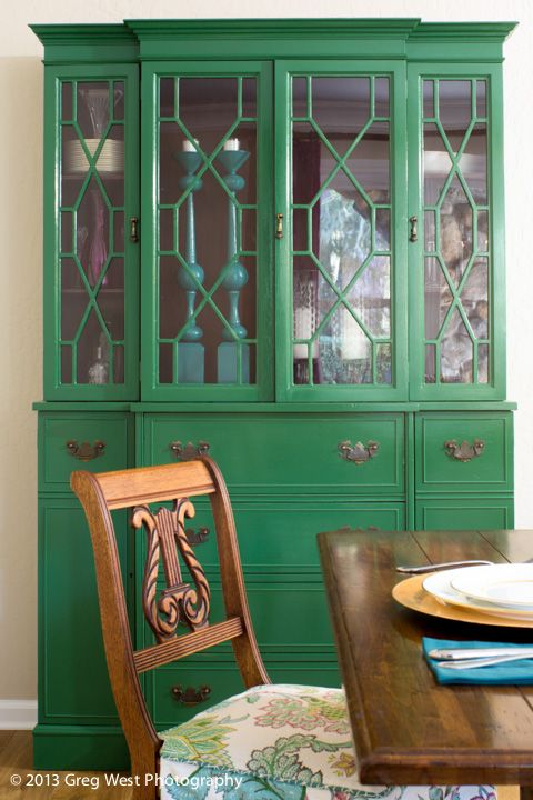 Emerald green hutch. #paintedfurniture #emerald nicoleyee.com