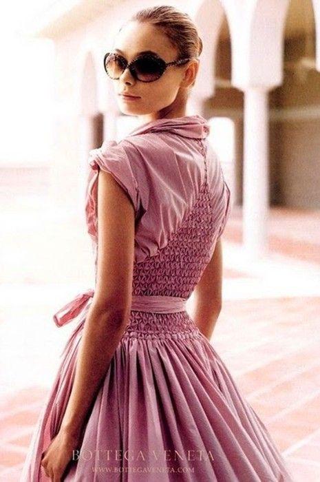 bottega veneta pink ruched + pleated shirtdress