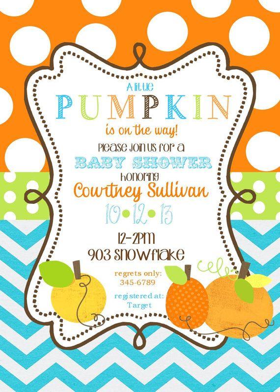 pumpkin baby shower invitations printable or digital file pumpkins