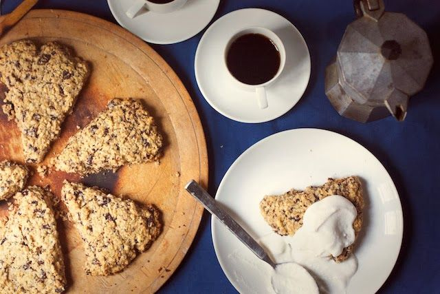 Oatmeal Chocolate Chunk Scones with Honey Coconut Cream (gluten-free ...