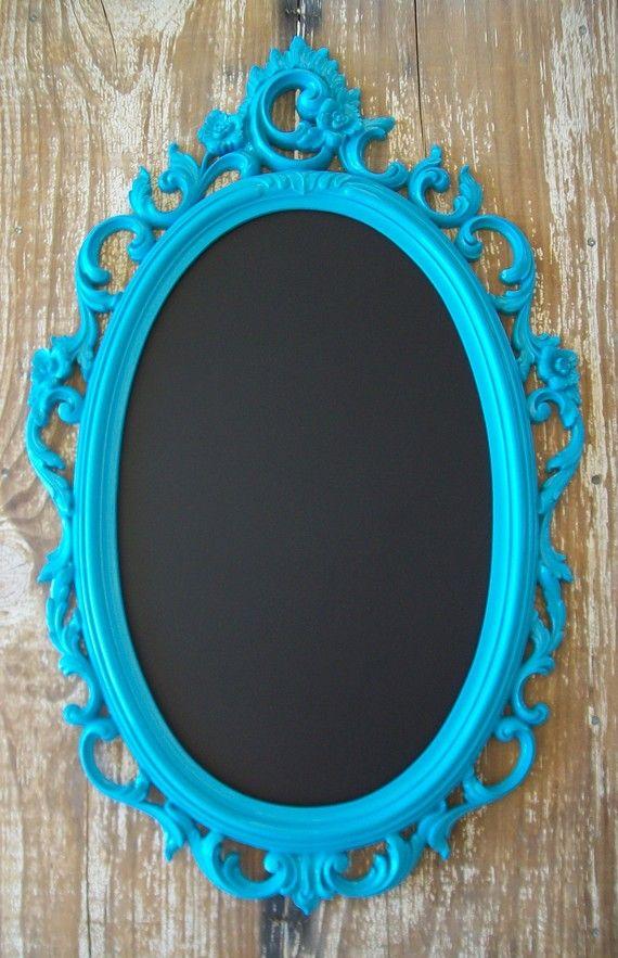 Framed chalkboard any color teal baroque ornate vintage for Teal framed mirror