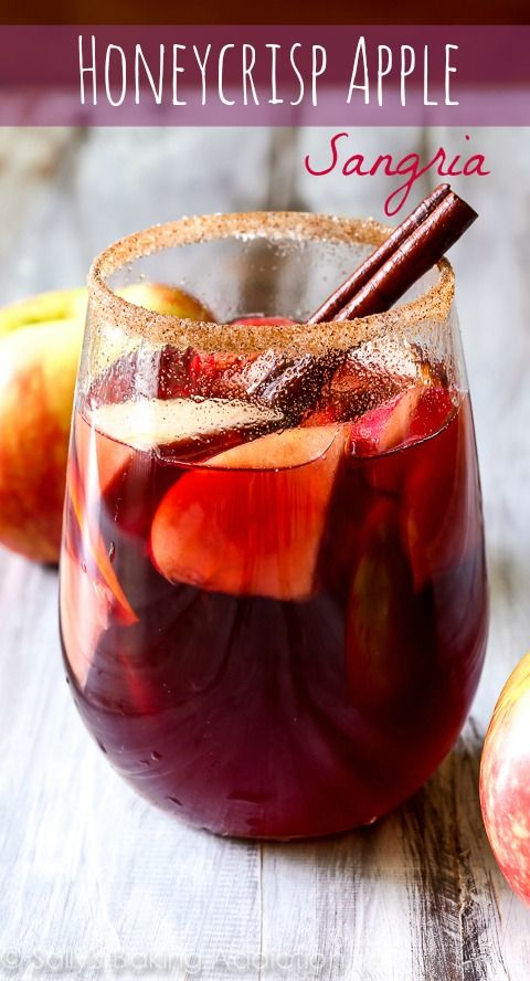 Honeycrisp Apple Sangria Recipe - the perfect cocktail for the fall season! Love Sally's Baking Addiction!