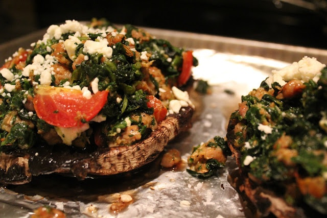 Stuffed Portobello Mushrooms with Spicy Turkey Sausage, Spinach ...