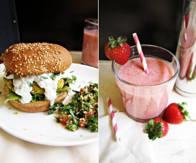 chickpea burgers, tabbouleh, and strawberry lassis