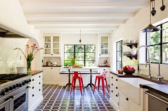 Love the tile floor and the crispness of the black and white.  The window frames are like eyeliner.... room by  Jessica Helgerson
