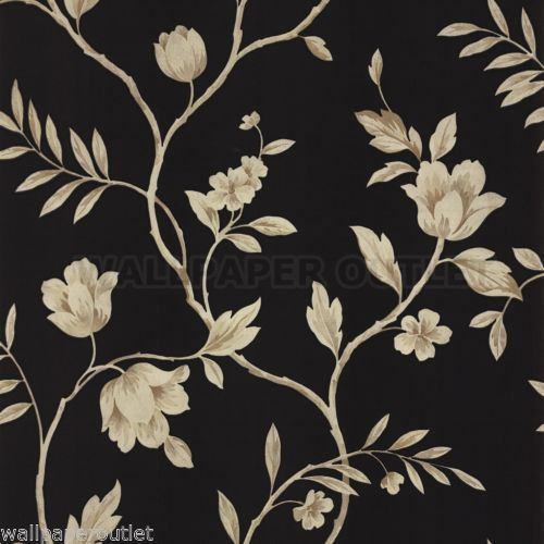 Clearance discount cheap wallpaper arthouse abbey black for Cheap black wallpaper