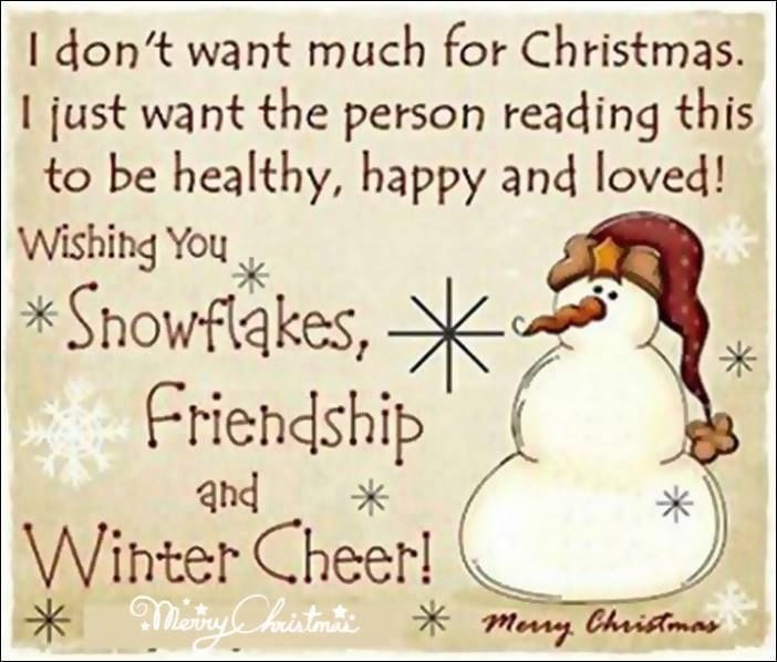Wishing you snowflakes, friendship and winter cheer, Merry Christmas.