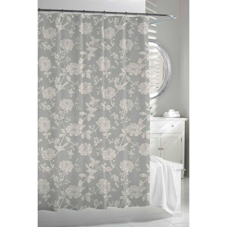Garden Birds Grey Beige Shower Curtain