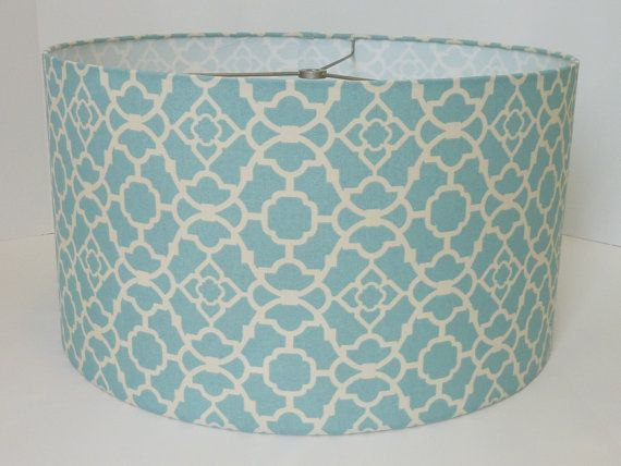 drum lampshade in waverly lattice aqua geometric fabric. Black Bedroom Furniture Sets. Home Design Ideas