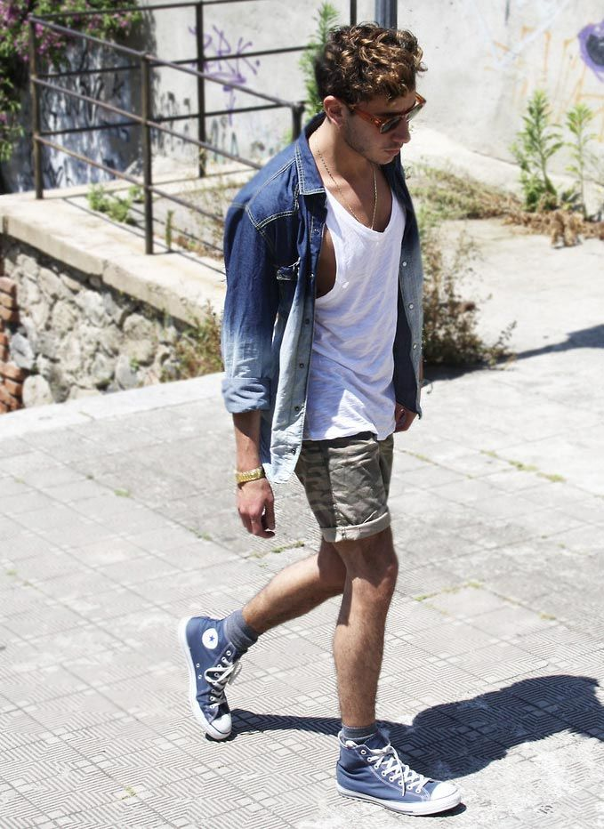 jeans jacket high top converse mens fashion pinterest