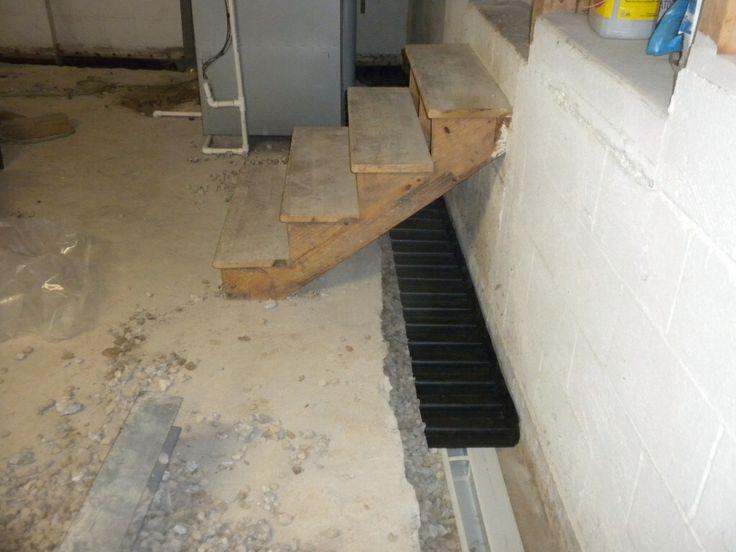 no water interior subfloor basement waterproofing installation