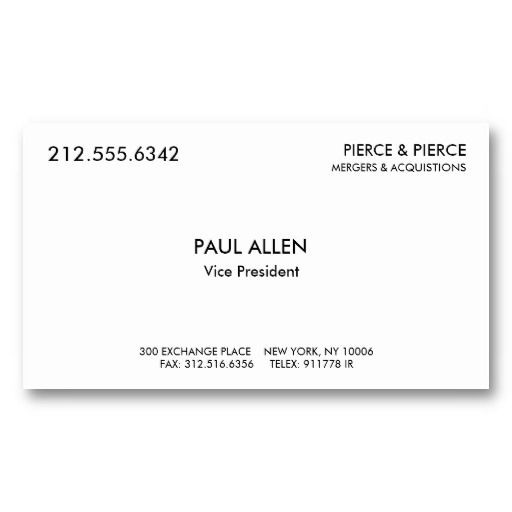 paul allen39s card With paul allen business card template