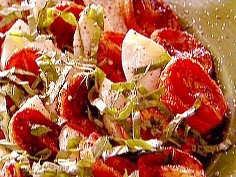 Ina's Roasted Tomato Caprese Salad...halfway between a regular tomato ...