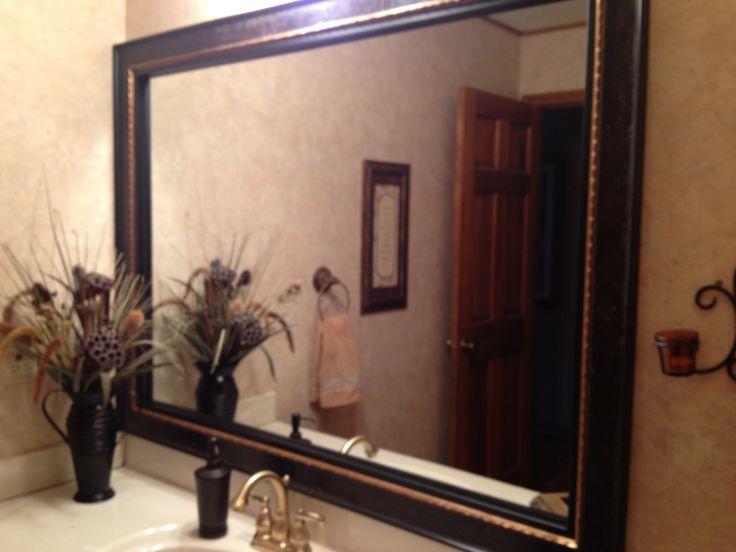 Bathroom mirror framed!!! Gorgeous!!  Decor ideas  Pinterest