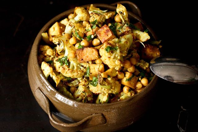 ... at Home: Indian Cauliflower with Chickpeas and Caramelized tofu