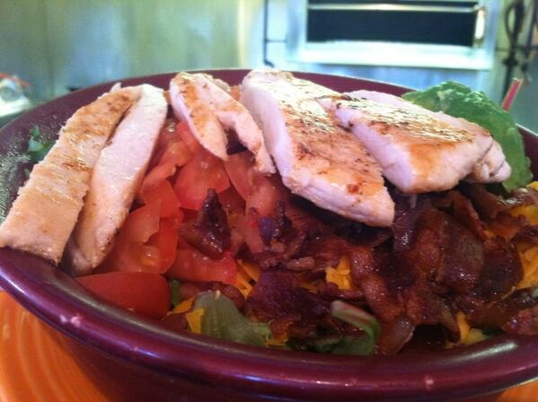 chicken cobb salad; avocado, bacon bits, tomato, cheddar, jack & blue ...