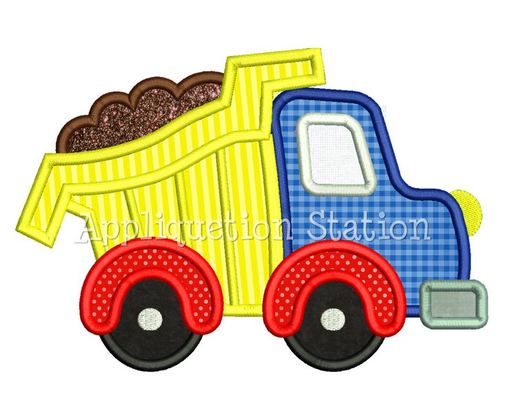 Cute Full Dump Truck Applique Machine Embroidery Design