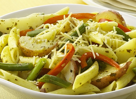 Pesto Penne Pasta with Potatoes and Green Beans Recipe