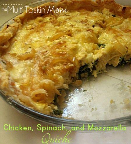 Chicken, Spinach, and Mozzarella Quiche - The Multi Taskin' Mom