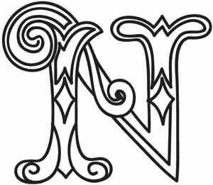 N Alphabet Design Cirque Letter N design (UTH3679) from UrbanThreads.com