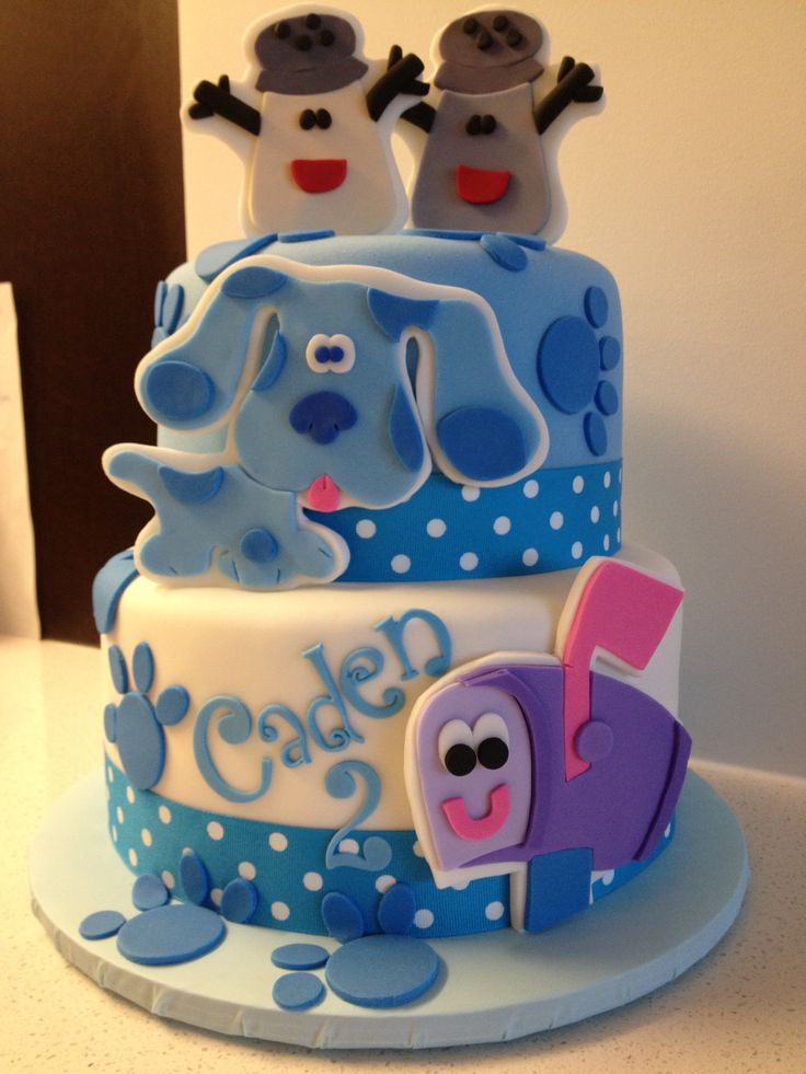 the blue's clues cake...    would love this for noah. Minus salt and pepper on top, that would just be for candles.