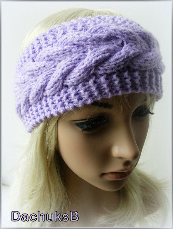 Hand Knitted Headband Ear Warmer In Purple Color Cable Pattern