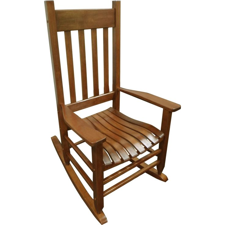 Shop Garden Treasures Natural Wood Slat Seat Outdoor Rocking Chair At Lowes C
