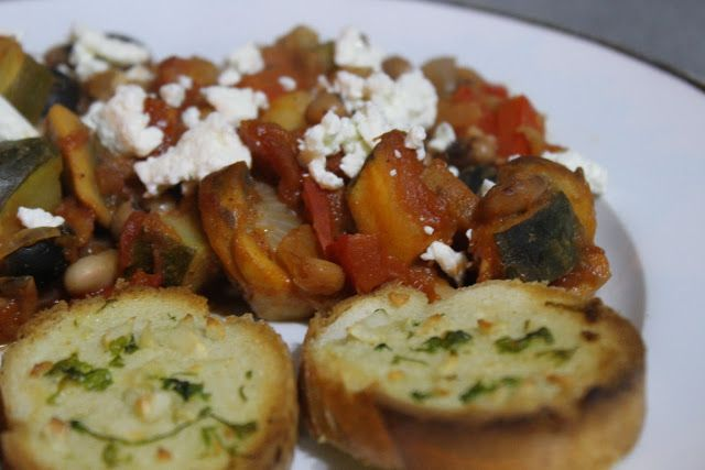 Greek style baked bean casserole with garlic croutons - Amuse Your ...
