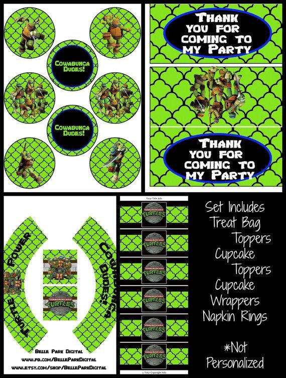 Teenage Mutant Ninja Turtles Cupcake Toppers Printables
