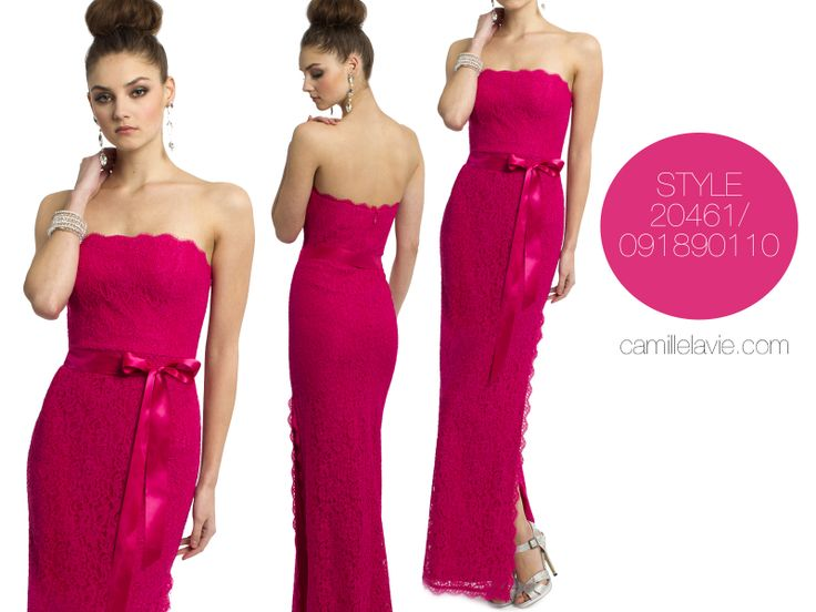 Camille La Vie Strapless Lace Long Prom Dress