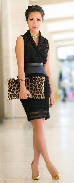 lepard handbag golden shoes with black mini skirt dress