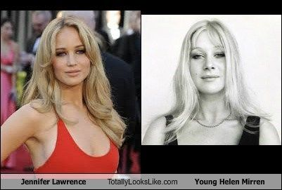 Young Helen Mirren Jennifer Lawrence