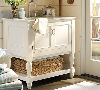 Simple Pottery Barn Inspired Bathroom Vanity  White Cream Amp Everything In B