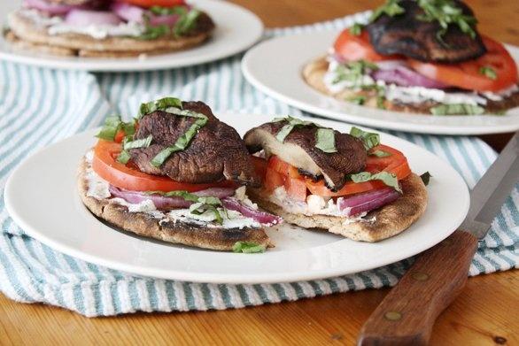 ... Grilled Portobello Goat Cheese Sandwiches #vegetarian #sandwich #pita