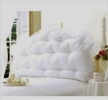 Queen headboard pillow romancing my home pinterest for Headboard made pillows