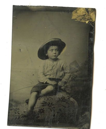 Tintype vintage photo cute little boy fishing pole hat for Little boy fishing