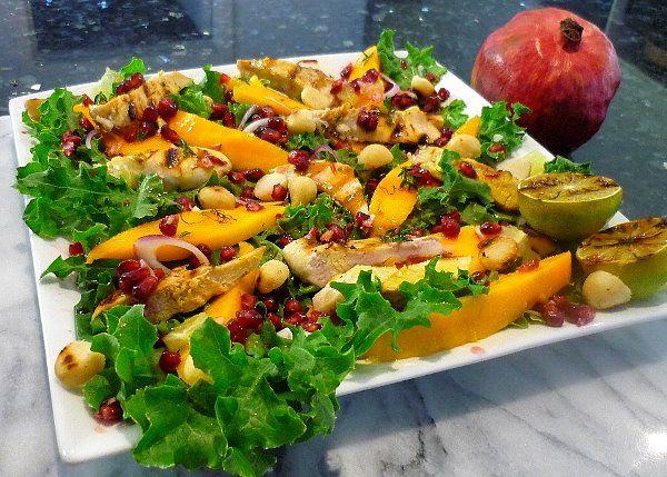 Mango Chicken and Pomegranate Salad | Delicious Indulgence | Pinterest