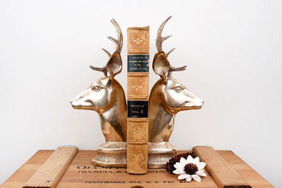 Vintage brass large deer bookends christmas wish list pinterest - Deer antler bookends ...