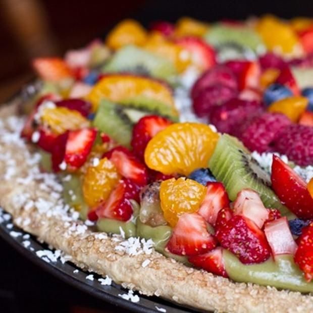 Avocado-Lime Whip Fruit Medley Pizza In A Sugar Cinnamon Crust