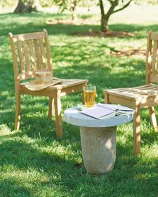 Paving-Stone Table - The smooth, flat slabs normally used as stepping stones last for years under any weather conditions.