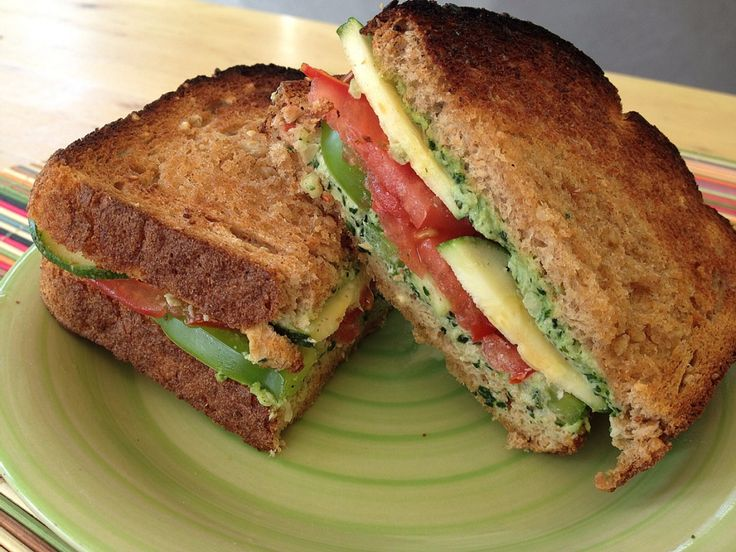 Veggie Sandwich with Creamy Kale Spread   On my way to eating only ve ...