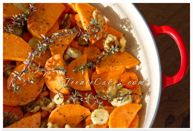 Honey roasted root vegetables, yum! I subbed turnips for parsnips, and ...