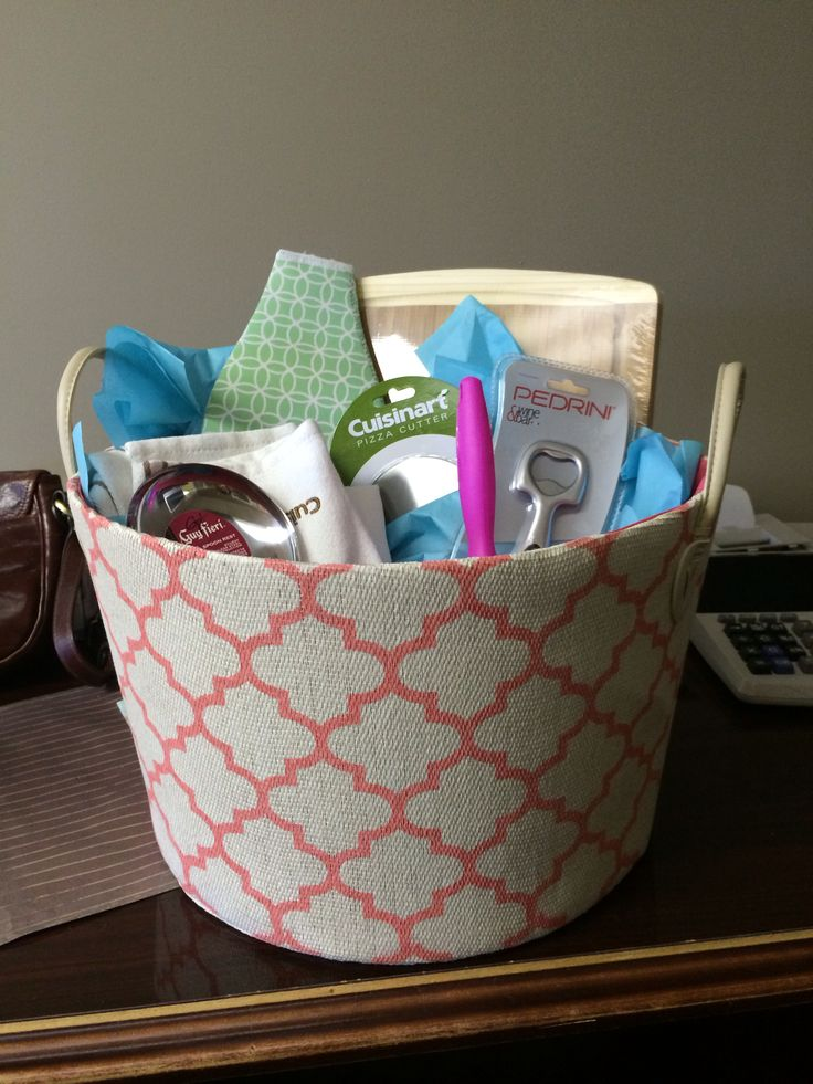 Perfect wedding shower gift! Basket, cutting board, wine cooler, wine ...