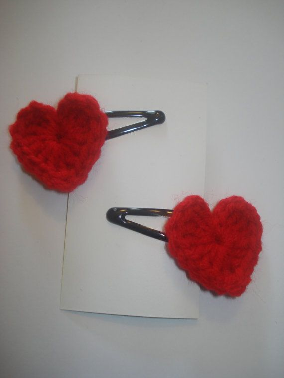 Crochet Hair Barrettes : Set of 2 red crocheted heart hair barrettes snap clips